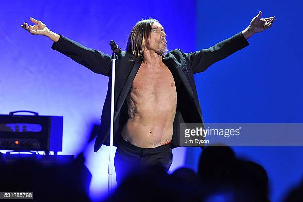 Iggy Pop performs live on stage during the Post Pop Depression tour at the Royal Albert Hall on May 13 2016 in London England