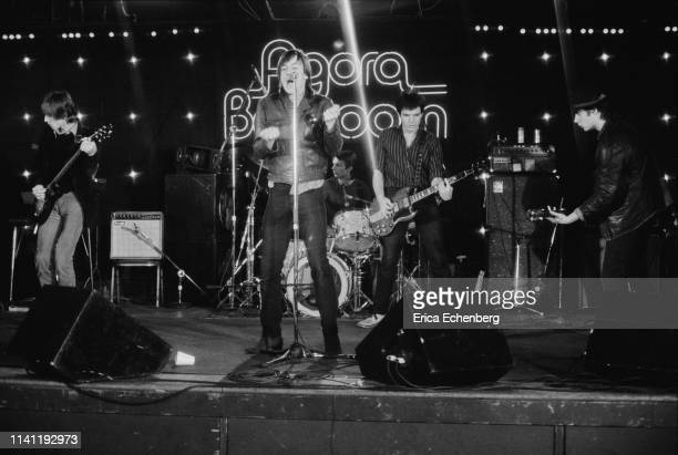 Iggy Pop performs on stage at the Agora Ballroom Cleveland Ohio United States on his New Values Tour November 13th 1979 LR Ivan Kral Iggy Pop Klaus...
