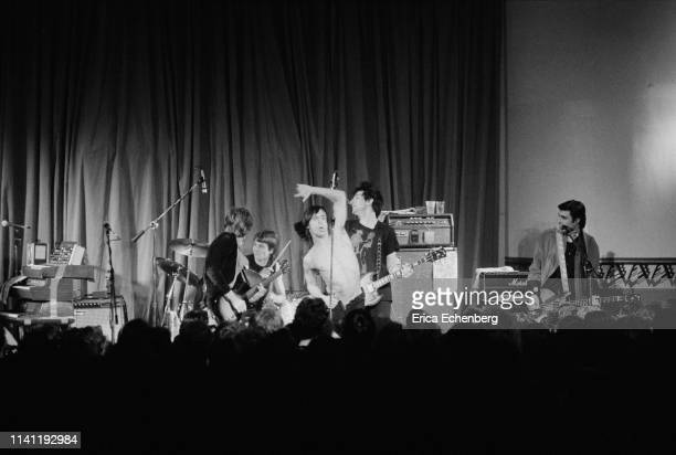 Iggy Pop performs on stage at the Agora Ballroom Cleveland Ohio United States on his New Values Tour November 13th 1979 LR Ivan Kral Klaus Kruger...