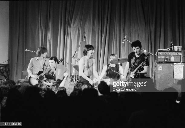 Iggy Pop performs on stage at the Agora Ballroom Cleveland Ohio United States on his New Values Tour November 13th 1979 LR Ivan Kral Glen Matlock...