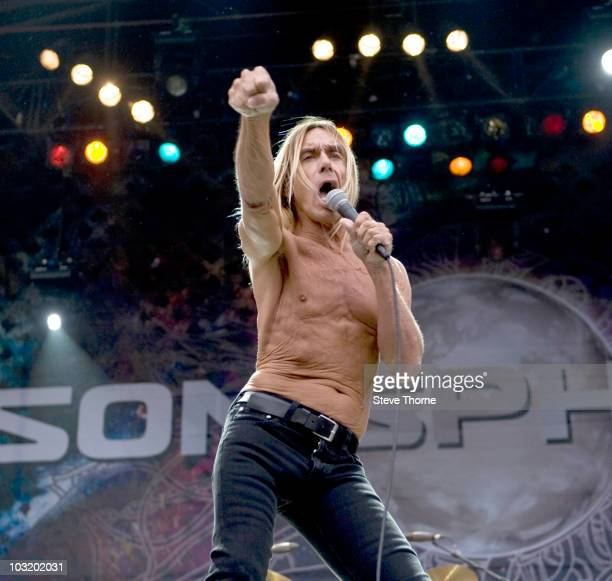 Iggy Pop performs on stage during the final day of Sonisphere Festival at Knebworth House on August 1 2010 in Stevenage England