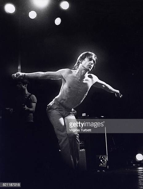 Iggy Pop performs on stage in Aylesbury, United Kingdom, 2 February 1980.