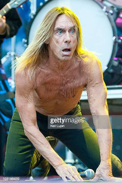 Iggy Pop performs on stage with his band The Stooges during the final day of the Sonisphere Festival at Knebworth House on August 1 2010 in Stevenage...