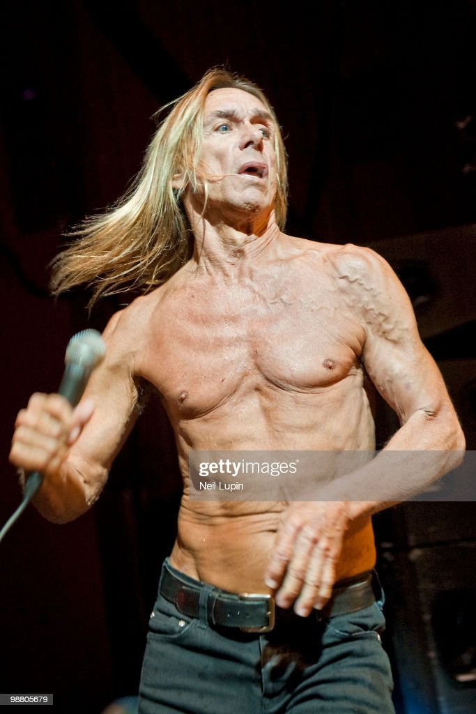 Iggy Pop performs on stage with The Stooges at Hammersmith Apollo on May 2, 2010 in London, England.