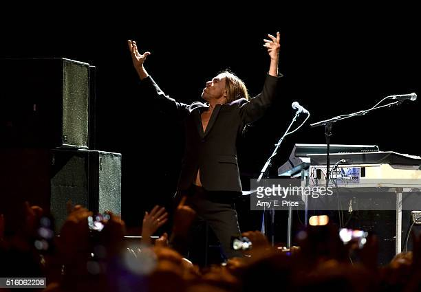 Iggy Pop performs onstage at the BMI and SAGAFTRA music showcase during the 2016 SXSW Music Film Interactive Festival at Austin City Limits Live at...