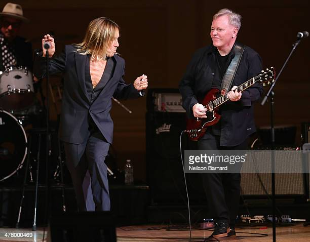 Iggy Pop performs with Bernard Sumner of New Order during the 2014 Tibet Benefit concert at Carnegie Hall on March 11 2014 in New York City