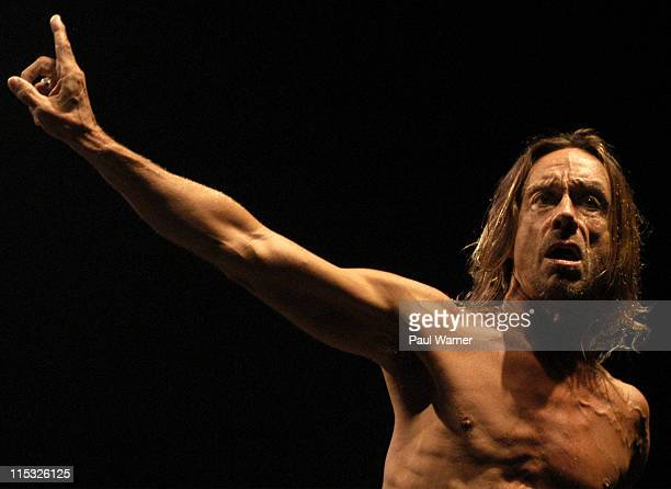 Iggy Pop performs with the original Stooges during Iggy Pop and the Original Stooges Ron Asheton and Scott Asheton Homcoming Concert at in Clarkston...