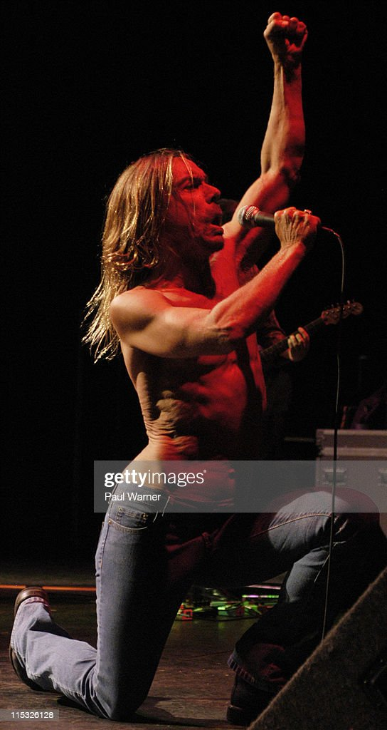 Iggy Pop performs with the original Stooges during Iggy Pop and the Original Stooges, Ron Asheton and Scott Asheton, Homcoming Concert at in Clarkston, Michigan on August 25, 2003 at DTE Energy Music Theater in Clarkston, Michigan, United States.