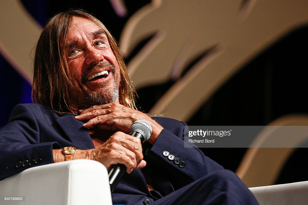 Iggy Pop speaks to Nils Leonard, Chairman and Chief Creative Officer of Grey London, during the 'Do Not Go Gentle' seminar hosted by Grey during The Cannes Lions Festival 2016 on June 22, 2016 in Cannes, France.