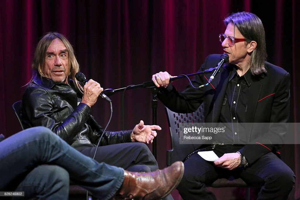 Iggy Pop speaks with Vice President of the GRAMMY Foundation Scott Goldman at A Conversation With Iggy Pop And Josh Homme at The GRAMMY Museum on April 27, 2016 in Los Angeles, California.