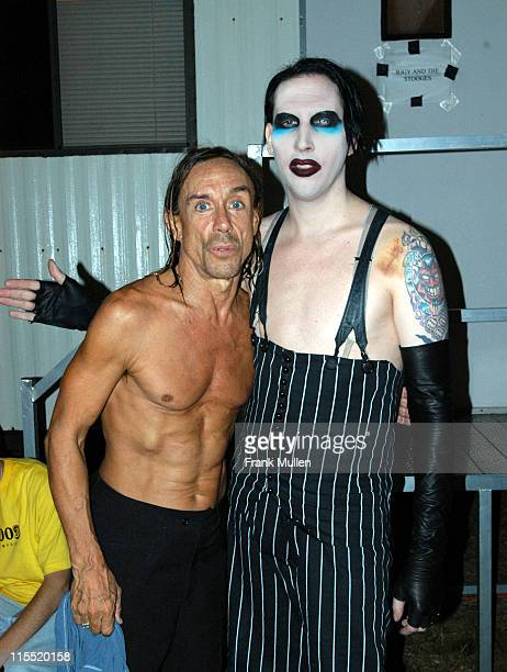 Iggy Pop with Marilyn Manson backstage at the Voodoo Music Experience November 1 2003