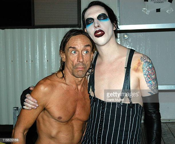 Iggy Pop with Marilyn Manson, backstage at the Voodoo Music Experience, November 1, 2003.