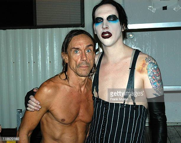Iggy Pop with Marilyn Manson, backstage at the Voodoo Music Experience, November 1, 2003. EXCLUSIVE