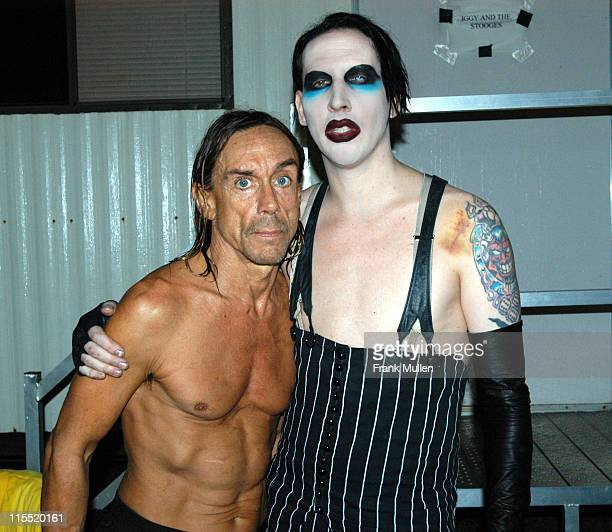 Iggy Pop with Marilyn Manson backstage at the Voodoo Music Experience November 1 2003 EXCLUSIVE