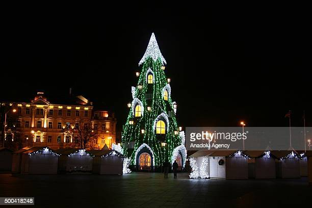 A ightened Christmas tree is seen at the Cathedral Square in Vilnius Lithuania on December 8 2015