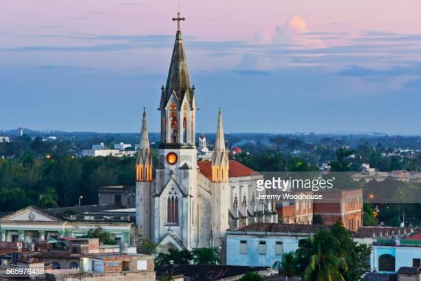Iglesia de la Sagrada Corazon in Camaguey cityscape, Camaguey, Cuba