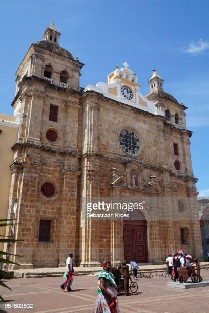 iglesia de san pedro claver church, unesco heritage, colombia - unesco stock-fotos und bilder