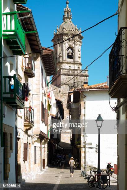 Iglesia de Santa Maria de la Asuncion church and alleyway old town Hondarribia Basque Country Spain