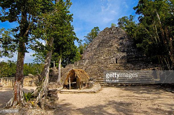 Iglesia ruin and Stela Mayan ruins of Coba Caribe Quintana Roo state Mayan Riviera Yucatan Peninsula Mexico