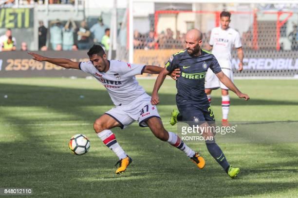 Iglesias Borja Valero Inter midfielder and Davide Faraoni Crotone defender during the Serie A match between FC Crotone and FC Internazionale FC...