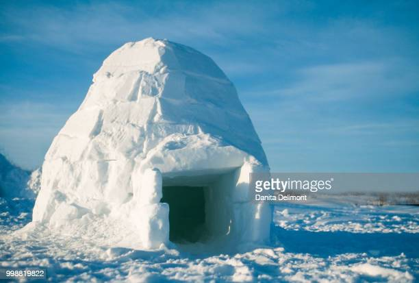 igloo constructed from blocks of snow, manitoba, canada - igloo stock pictures, royalty-free photos & images