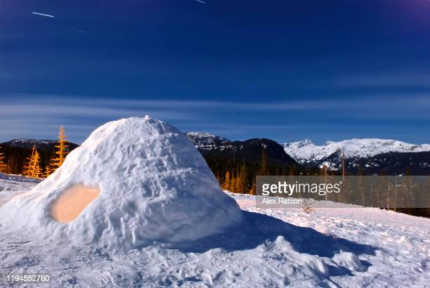 a igloo snow shelter in strathcona provincial park - snowcapped mountain stock pictures, royalty-free photos & images