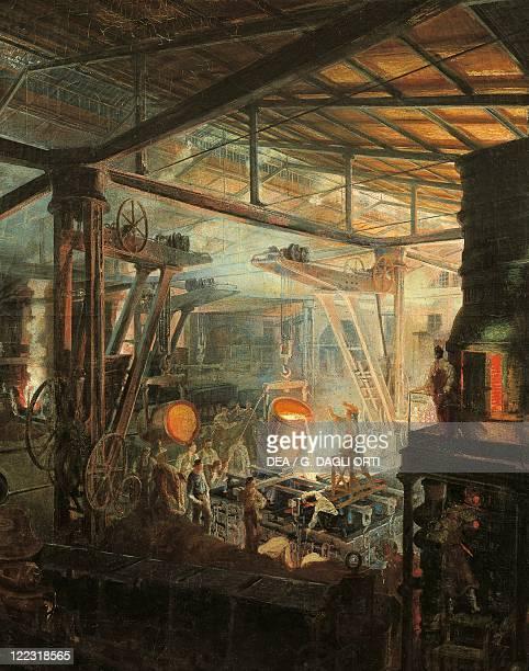 Ignace Francois Bonhomme The Foundry ca 1864 oil on canvas Detail