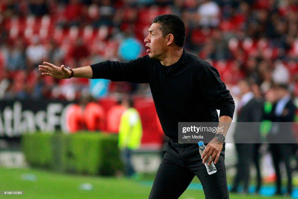 Ignacio Ambriz coach of Necaxa gestures during the 7th round match between Atlas and Necaxa as part of the Torneo Clausura 2018 Liga MX at Jalisco Stadium on February 13, 2018 in Guadalajara, Mexico.