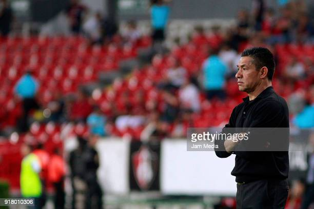 Ignacio Ambriz coach of Necaxa looks on during the 7th round match between Atlas and Necaxa as part of the Torneo Clausura 2018 Liga MX at Jalisco...