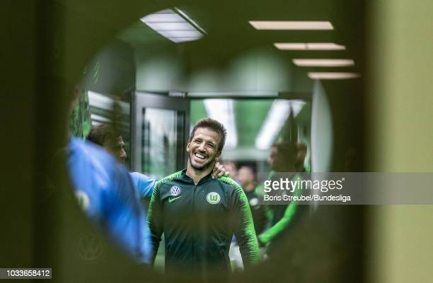 Ignacio Camacho of VfL Wolfsburg looks on in the players tunnel prior to the Bundesliga match between VfL Wolfsburg and Hertha BSC at Volkswagen...
