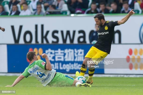 Ignacio Camacho of Wolfsburg and Gonzalo Castro of Dortmund battle for the ball during to the Bundesliga match between VfL Wolfsburg and Borussia...