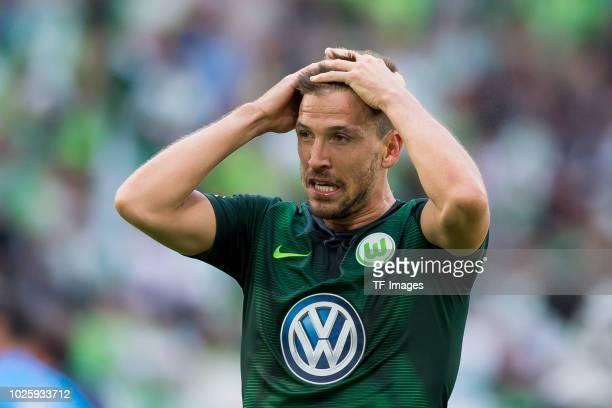 Ignacio Camacho of Wolfsburg looks on during the Bundesliga match between VfL Wolfsburg and FC Schalke 04 at Volkswagen Arena on August 25, 2018 in...