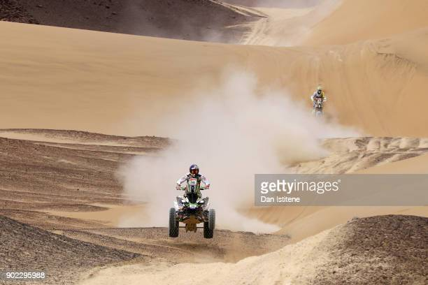 Ignacio Casale of Chile and Casale Racing rides a Raptor 750 Yamaha quad bike in the Classe GQ1 2 Roues Motrices 0 during stage two of the 2018 Dakar...