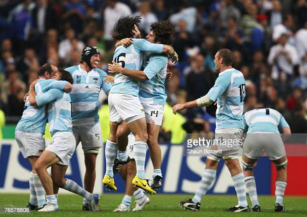 Ignacio Corleto of Argentina celebrates victory with Lucas Borges of Argentina during the opening match of the Rugby World Cup 2007 between France...