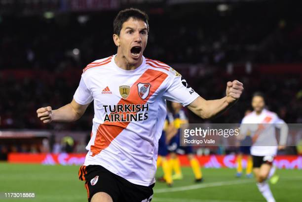Ignacio Fernandez of River Plate celebrates after scoring the second goal of his team during the semi final first leg match between River Plate and...