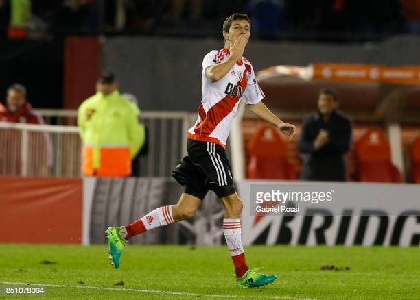 Ignacio Fernandez of River Plate celebrates his team's sixth goal during a second leg match between River Plate and Wilstermann as part of the...