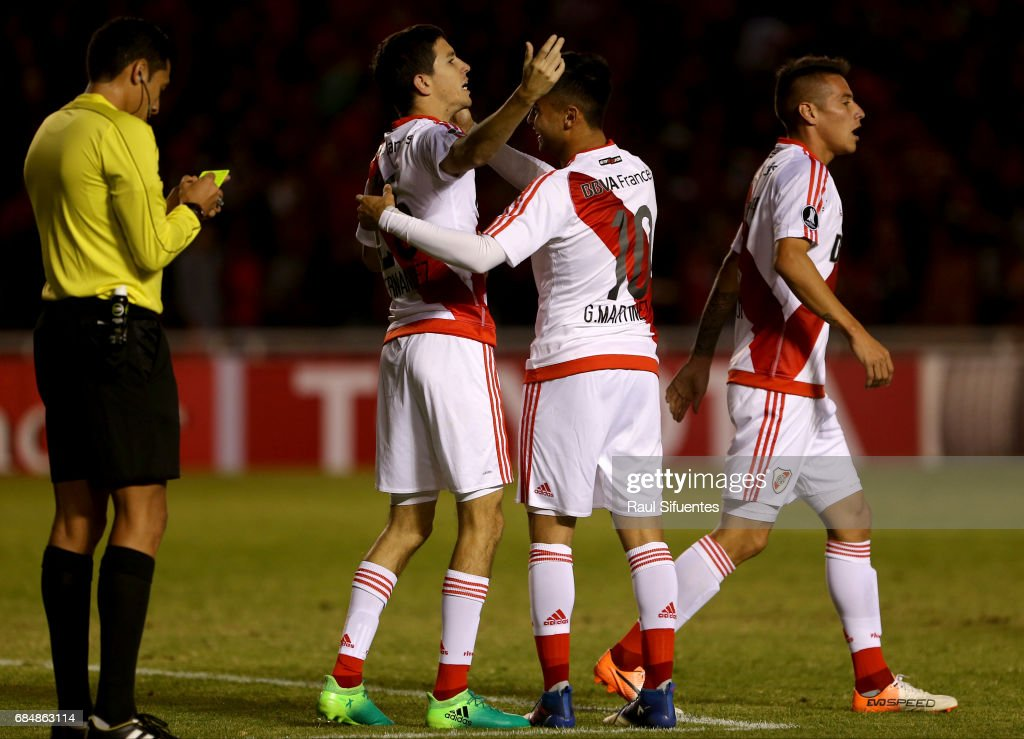 Ignacio Fernandez of River Plate celebrates with Gonzalo Martinez after scoring the third goal of his team during a group stage match between FBC Melgar and River Plate as part of Copa CONMEBOL Libertadores Bridgestone 2017 at Monumental de la UNSA Stadium on May 18, 2017 in Arequipa, Peru.