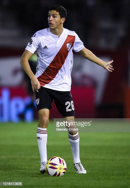 Ignacio Fernandez of River Plate drives the ball during a match between Huracan and River Plate as part of Superliga Argentina 2018/19 at Estadio...