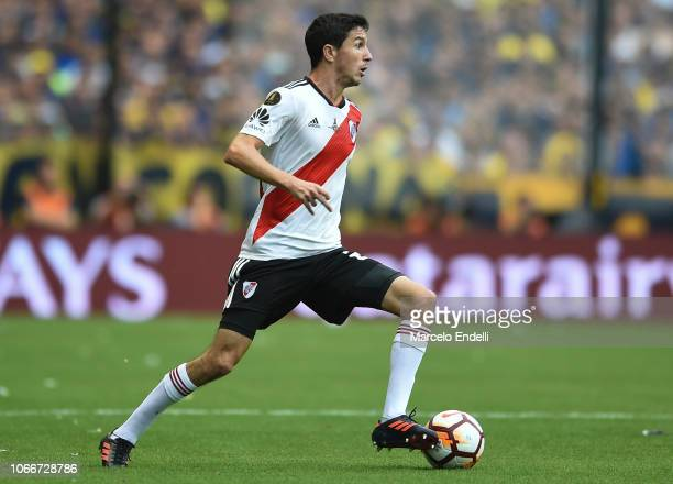 Ignacio Fernandez of River Plate drives the ball during the first leg match between Boca Juniors and River Plate as part of the Finals of Copa...