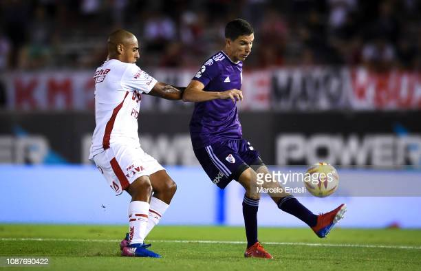 Ignacio Fernandez of River Plate fights for the ball with Diego Zabala of Union during a match between River Plate and Union as part of Round 12 of...