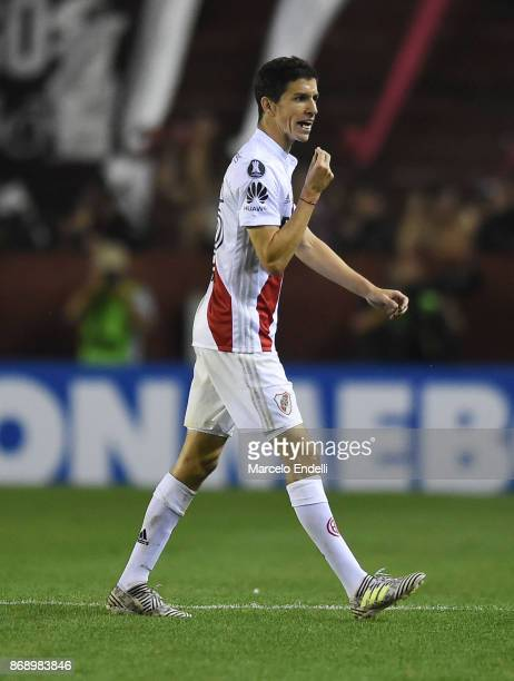 Ignacio Fernandez of River Plate gestures after receiving a red card during a second leg match between Lanus and River Plate as part of the...