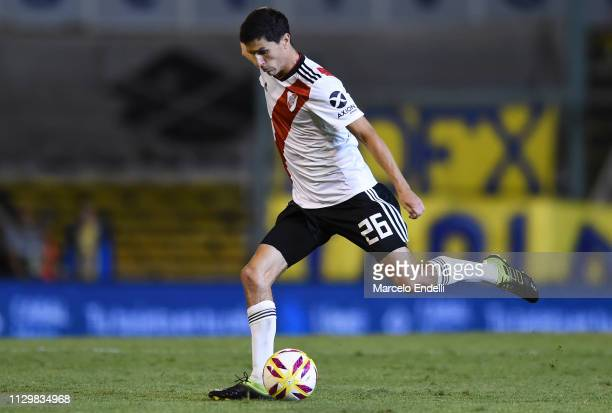 Ignacio Fernandez of River Plate kicks the ball during a match between Rosario Central and River Plate as part of Superliga 2018/19 at Estadio...