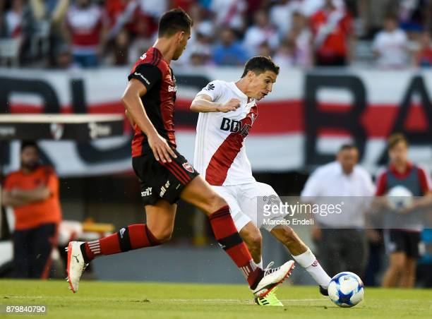 Ignacio Fernandez of River Plate kicks the ball during a match between River and Newell's Old Boys as part of Superliga 2017/18 at Monumental Stadium...