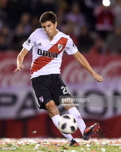 Ignacio Fernandez of River Plate kicks the ball during a match between River Plate and Belgrano as part of Superliga 2017/18 at Monumental Antonio...