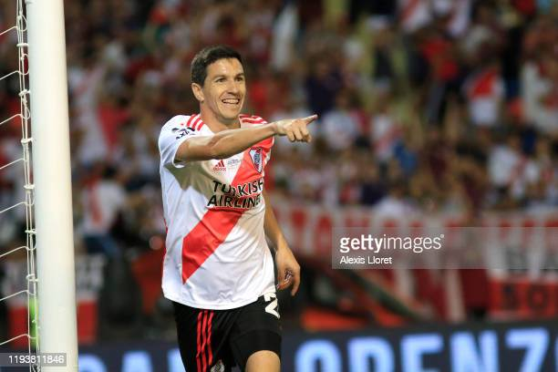 Ignacio Fernández of River Plate celebrates after scoring the second goal of his team during the final of Copa Argentina 2019 between Central Cordoba...