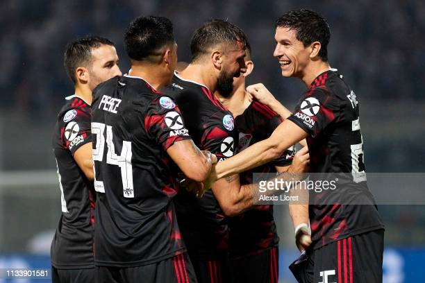 Ignacio Fernández River Plate celebrates with teammates after scoring the first goal of his team during a match between Talleres and River Plate as...