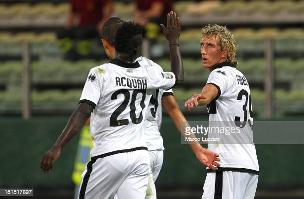 Ignacio Fideleff of Parma FC celebrates his goal with team-mates Afriyie Acquah during the Friendly match between Parma FC and UC Sampdoria at Stadio...