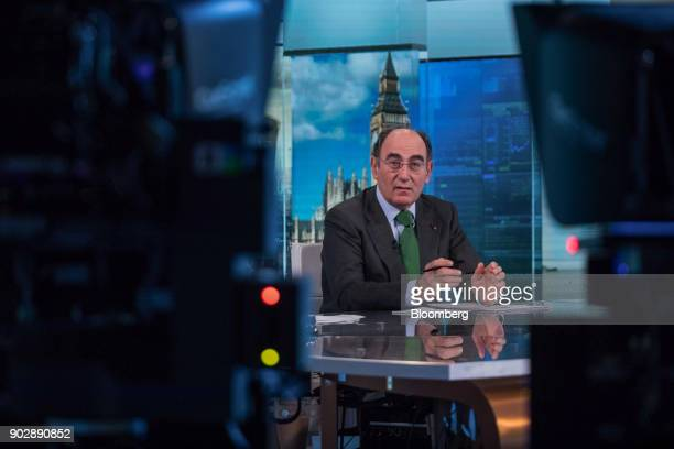 Ignacio Galan chairman and chief executive officer of Iberdrola SA pauses during a Bloomberg Television interview in London UK on Tuesday Jan 9 2018...
