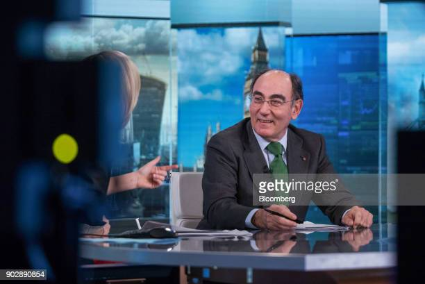 Ignacio Galan chairman and chief executive officer of Iberdrola SA reacts during a Bloomberg Television interview in London UK on Tuesday Jan 9 2018...