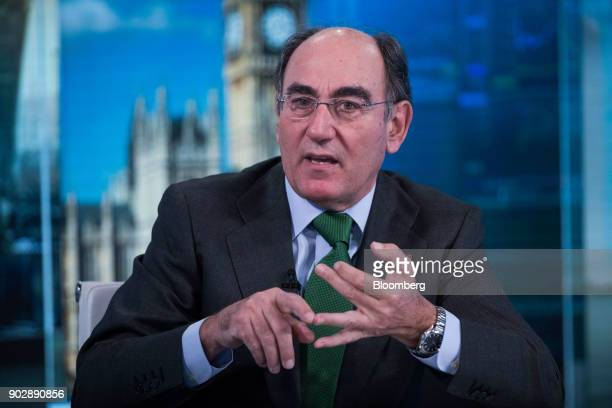 Ignacio Galan chairman and chief executive officer of Iberdrola SA gestures while speaking during a Bloomberg Television interview in London UK on...